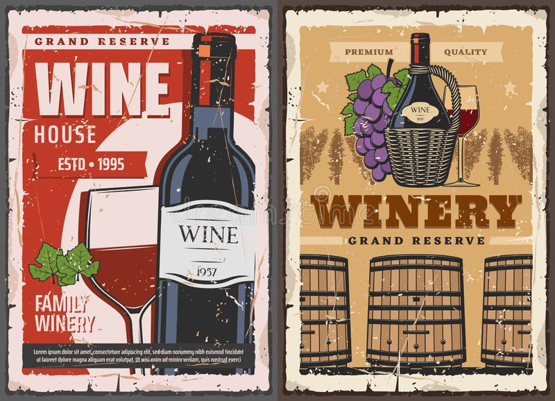 Wine house barrel and winery grand reserve drinks. Winemaking house and wine grand reserve vault vintage posters. Vector wine production factory, wooden barrels royalty free illustration