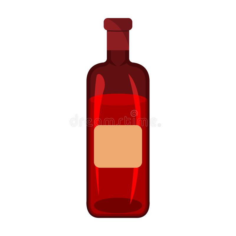 Wine icon. BBQ and Picnic label on white Background. Cartoon st. Yle. Vector Illustration royalty free illustration