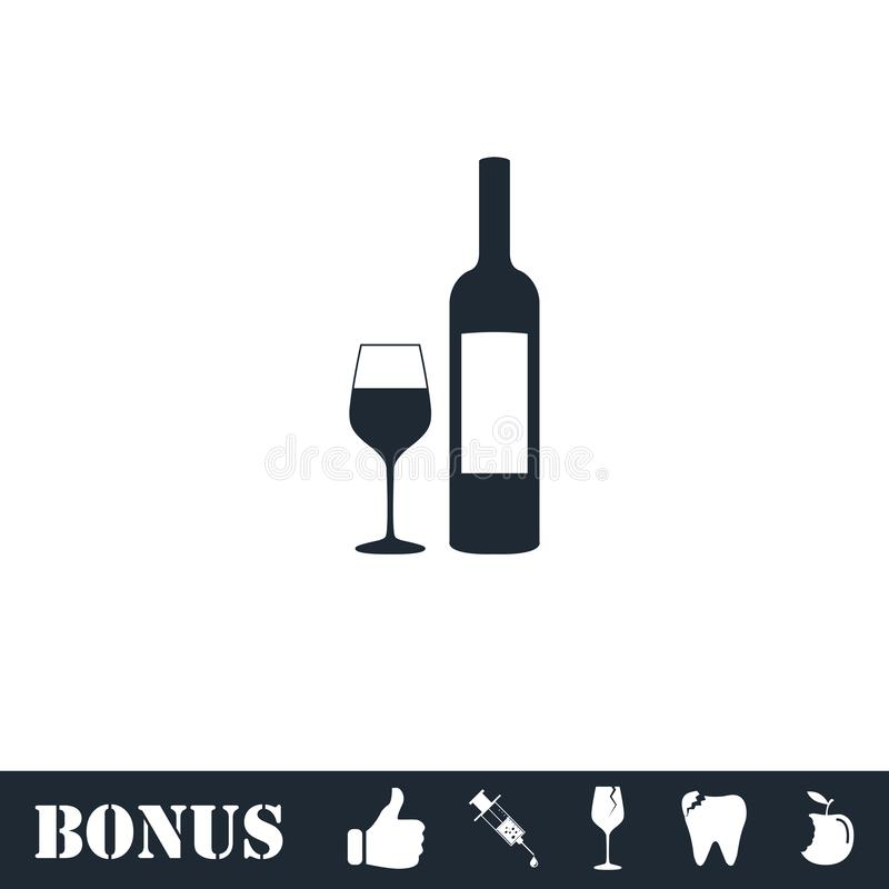 Wine icon flat stock illustration