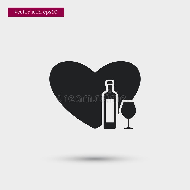 Wine icon. Simple romance element illustration. Valentine symbol design from love collection. Can be used in web and mobile stock illustration