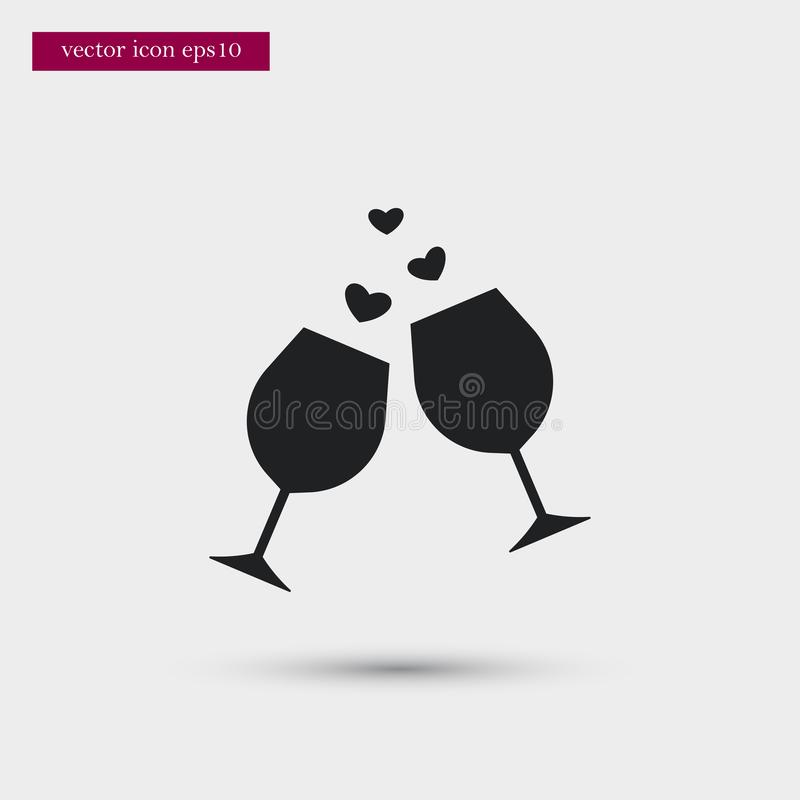 Wine icon. Simple romance element illustration. Valentine symbol design from love collection. Can be used in web and mobile vector illustration