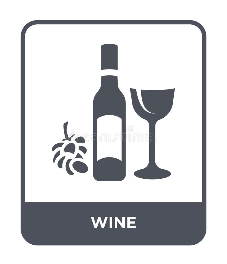 Wine icon in trendy design style. wine icon isolated on white background. wine vector icon simple and modern flat symbol for web. Site, mobile, logo, app, UI royalty free illustration