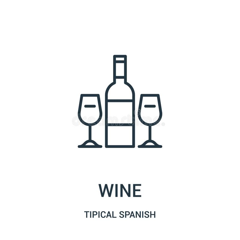 wine icon vector from tipical spanish collection. Thin line wine outline icon vector illustration. Linear symbol for use on web stock illustration