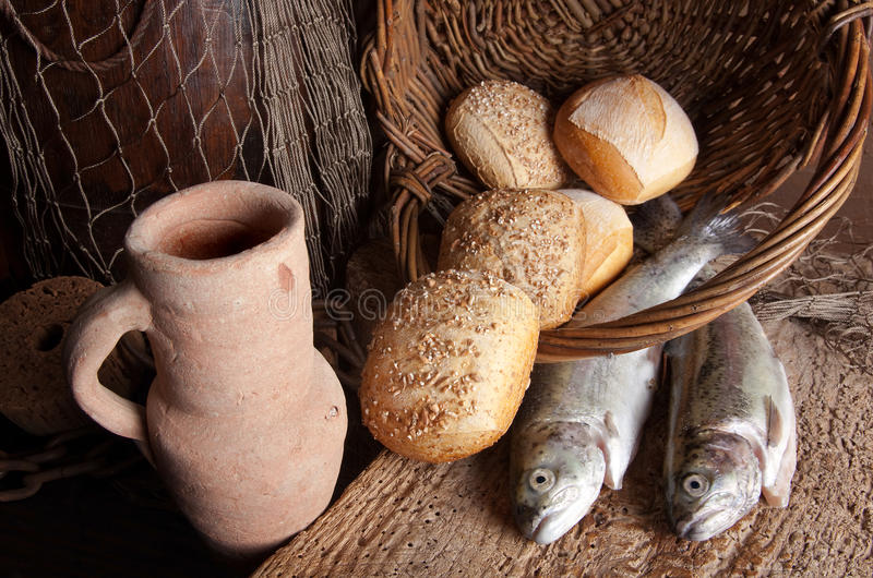 Download Wine Jug With Bread And Fish Stock Image - Image: 9621313