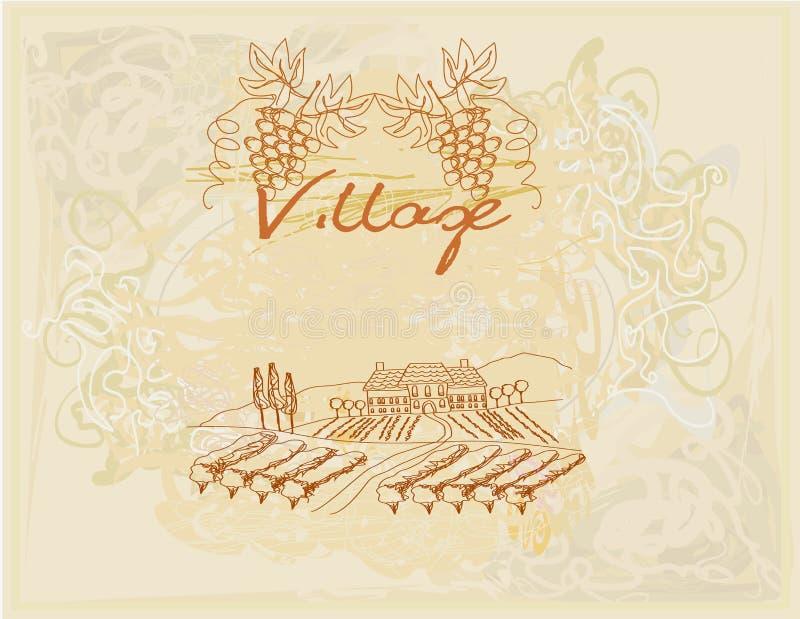 Wine label - hand drawn vineyard. Illustration vector illustration