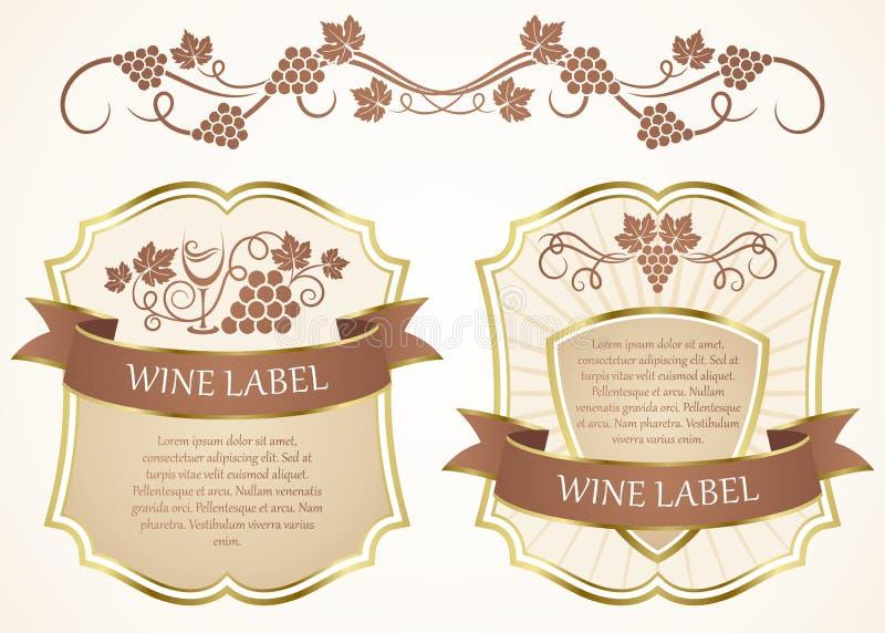 Wine label vector illustration