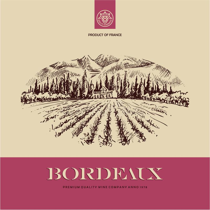 Wine label, vineyard landscape hand drawn illustration. Wine label, vineyard landscape hand drawn vector illustration royalty free illustration