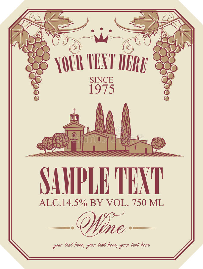 Free Wine Label With A Landscape Of Vineyards Royalty Free Stock Photography - 71501027