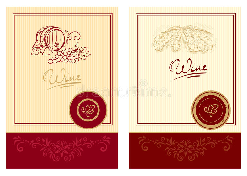 Wine labels royalty free illustration
