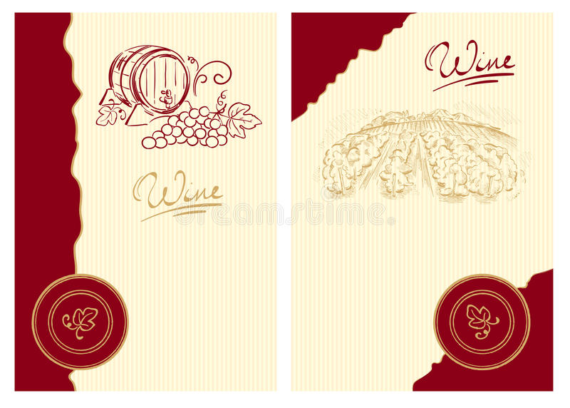 Download Wine Labels With The Barrel And The Vineyard Stock Vector - Image: 15101250