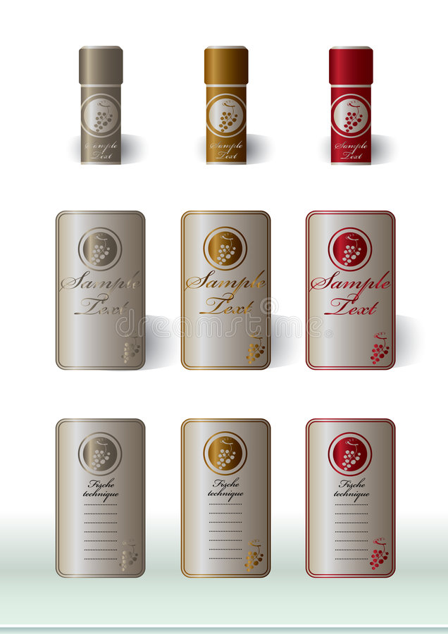 wine labels basic presentation stock illustration