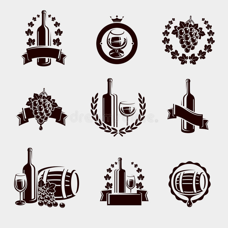 Free Wine Labels Set. Vector Royalty Free Stock Photo - 56954545