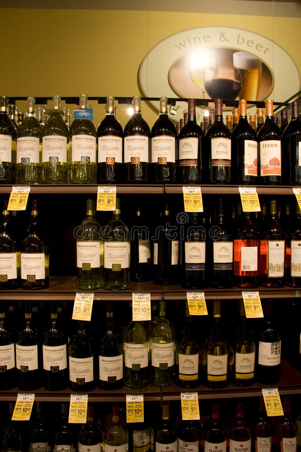 Wine, liquor, alcohol store royalty free stock photo