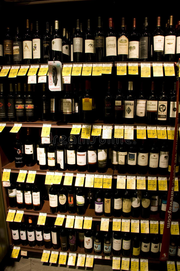Wine, liquor, alcohol store royalty free stock photography