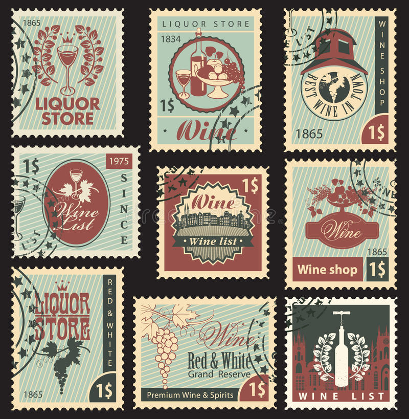 Wine and liquor. Set of postal stamps on theme of wine and liquor royalty free illustration