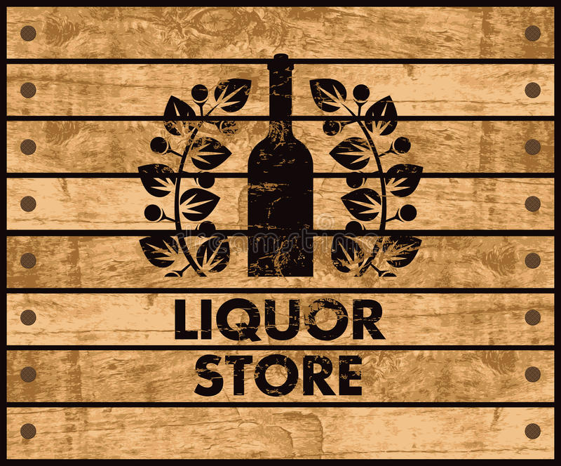 Wine and liquor store sign. Wooden box with a picture of the bottle of wine and liquor store sign stock illustration