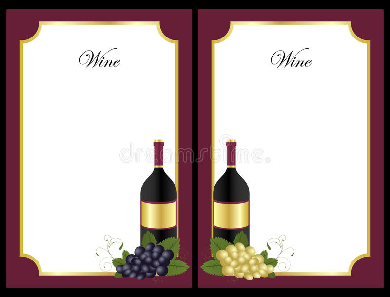 Wine list. Set of two wine list with wine bottles and grape fruit isolated on black background. EPS file available vector illustration