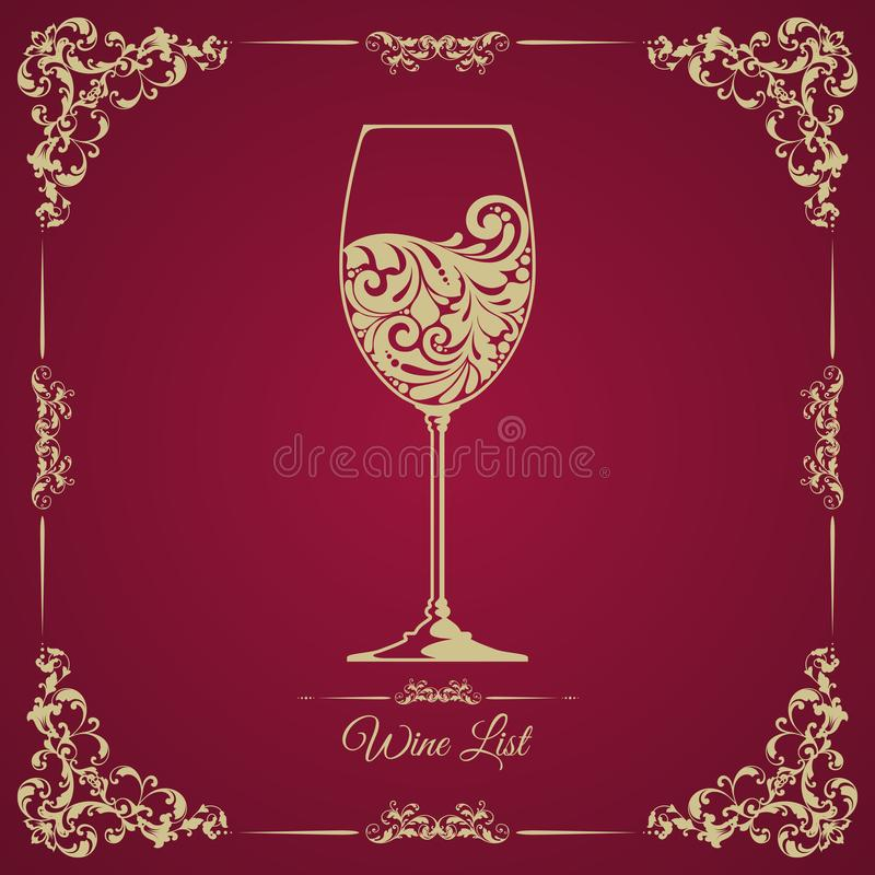 Wine list card bar menu retro design. Classic vintage template with ornamental frame and decorative glass of wine. royalty free illustration