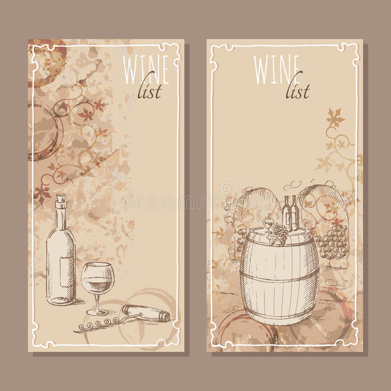 Wine list cards. Menu cards sketch. vector illustration