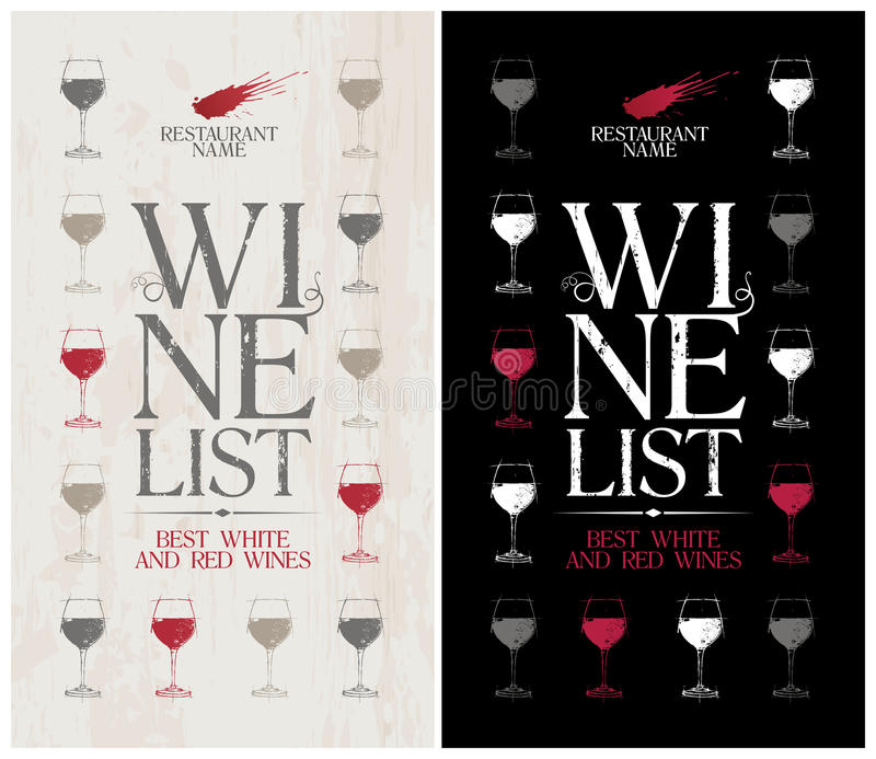 Wine List Menu Template Stock Vector  Image