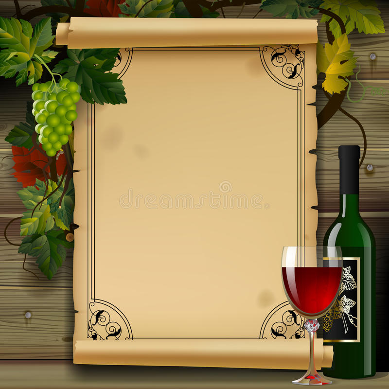 Wine list with old parchment, grapes, bottle and wineglass on wood background stock illustration
