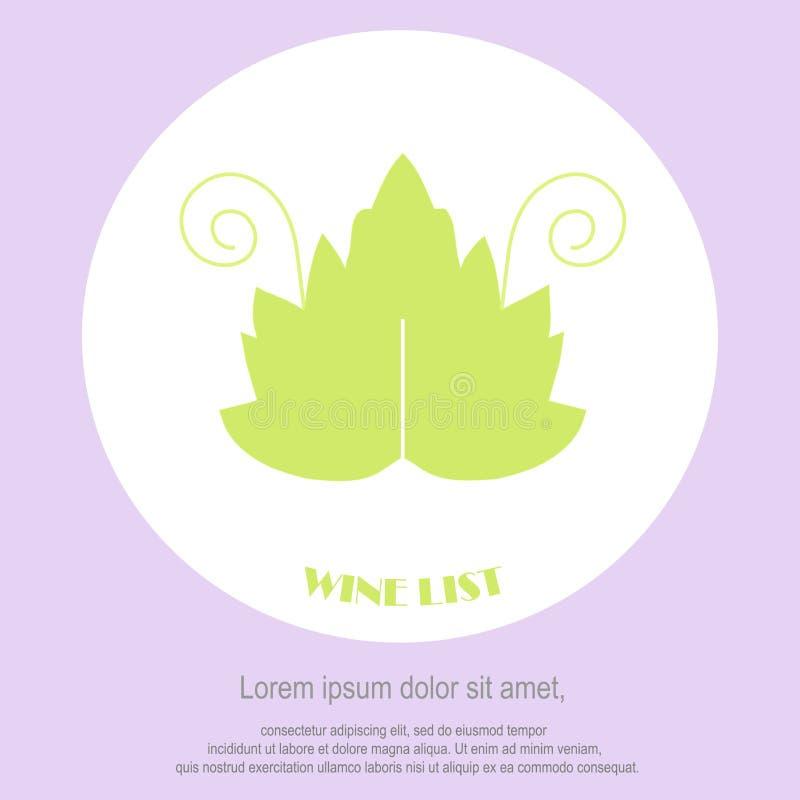 Wine list restaurant menu template. Line style, green leaf with swirls, Lorem ipsum on white. Perfect wine design element stock vector illustration royalty free illustration