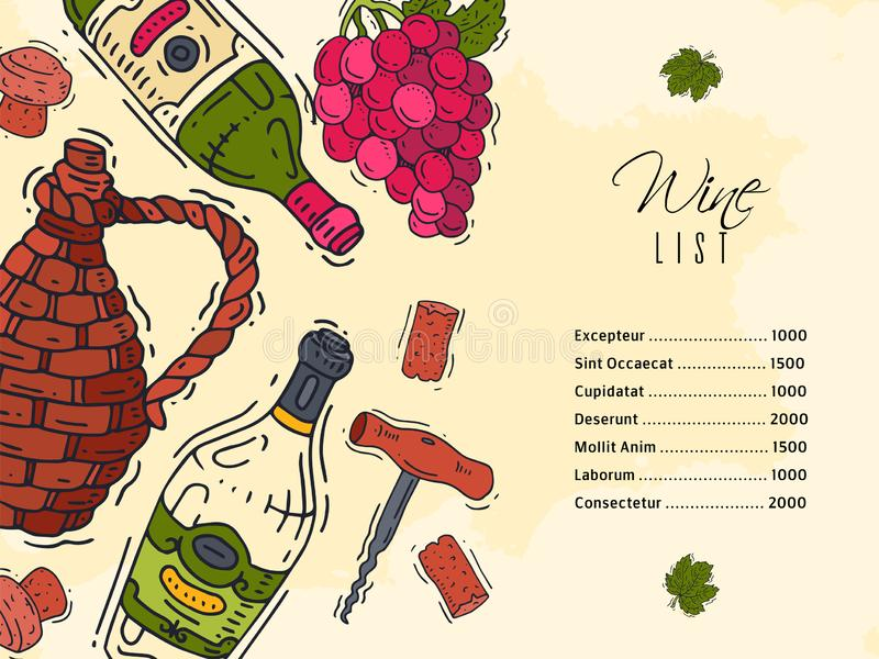 Wine list taste club banner vector illustrations glass wine grape bottle. Tasting events menu. Vector alcohol drink. Wine list taste club banner vector stock illustration