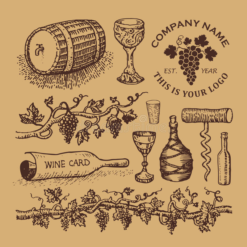 Wine logos and sketches vector illustration