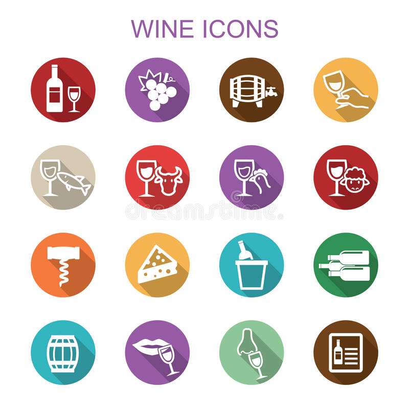 Wine long shadow icons vector illustration