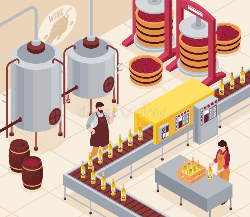 Wine Manufacturing Isometric Illustration stock illustration