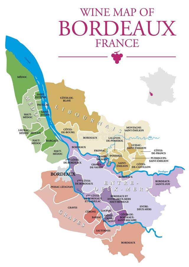 Wine map of Bordeaux. Map of Bordeaux wine vineyard stock illustration