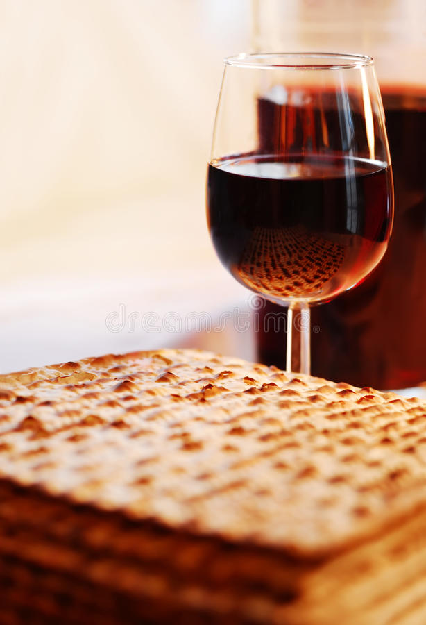 Wine and Matzot royalty free stock photo