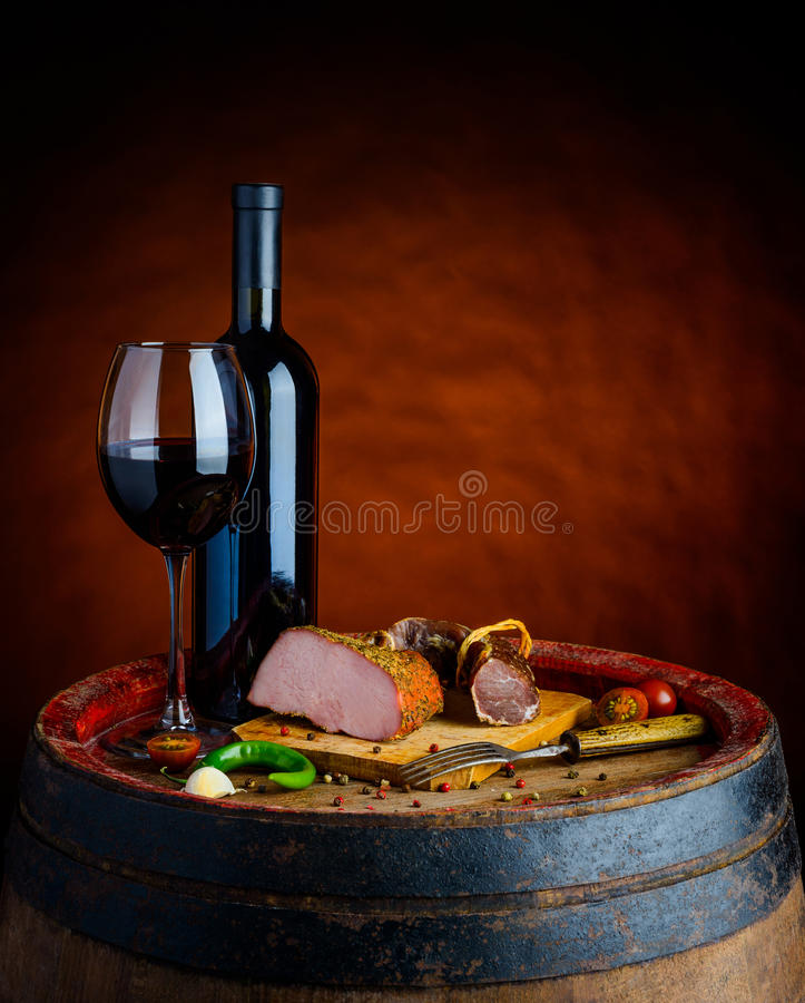 Wine and meat stock photography
