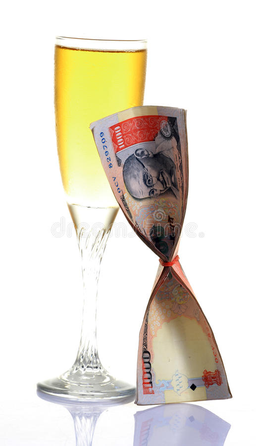 Wine And Money Stock Photography