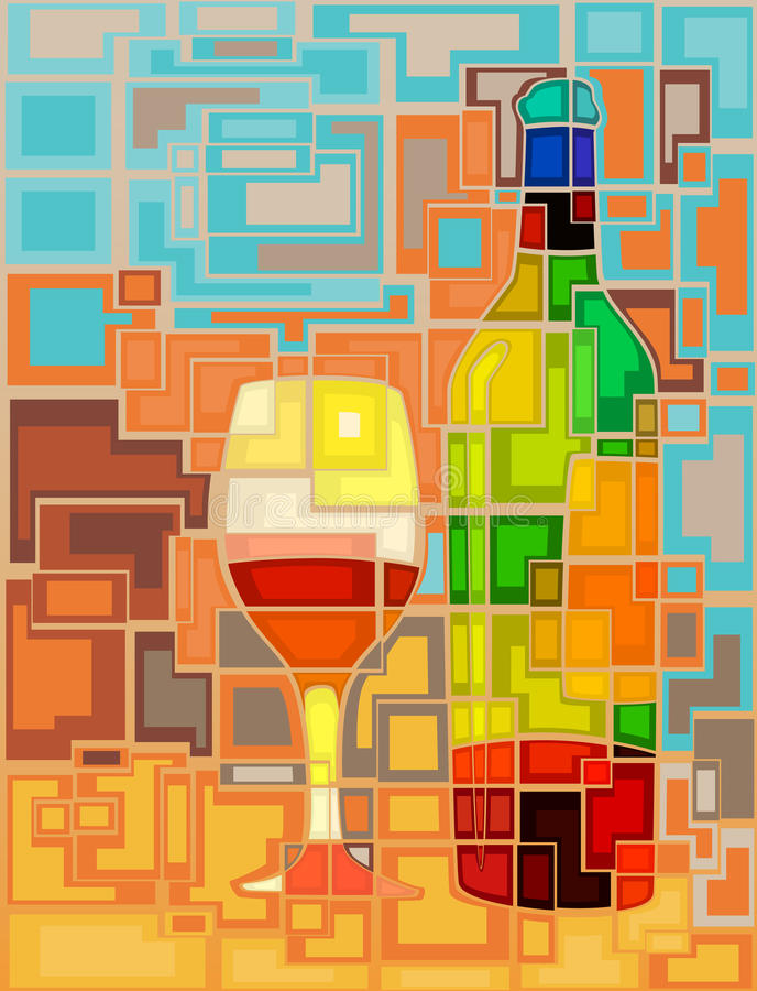 Download Wine mosaic stock vector. Illustration of bottle, colourful - 25575007