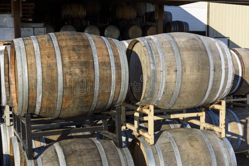 Vineyard Oak Barrels, Mid-Willamette Valley, Marion County, Western Oregon. Wine Oak Barrels, Mid-Willamette Valley royalty free stock photo