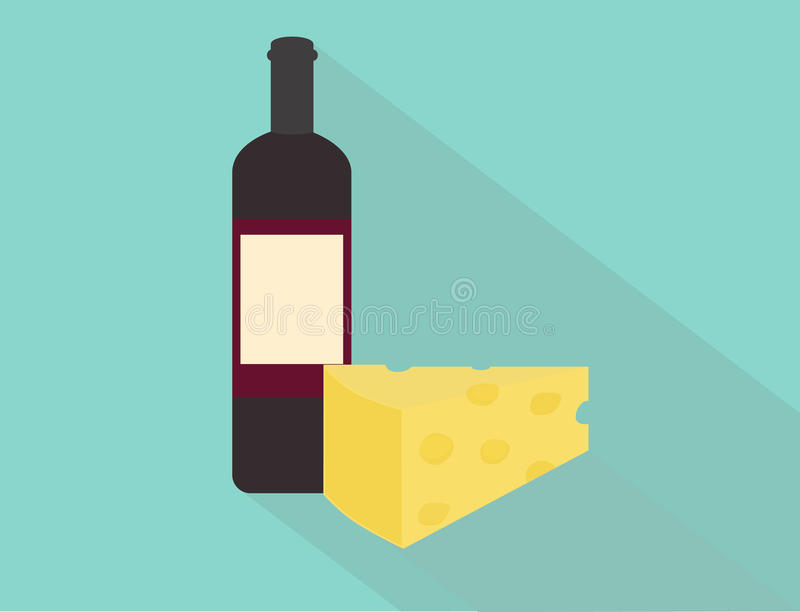 Wine och ost stock illustrationer
