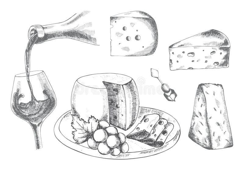Wine och ost royaltyfri illustrationer