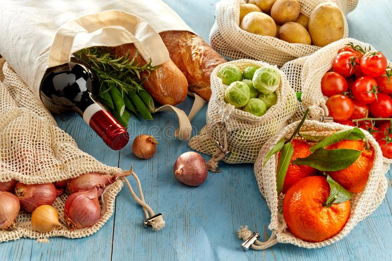 Wine and organic groceries from market royalty free stock image