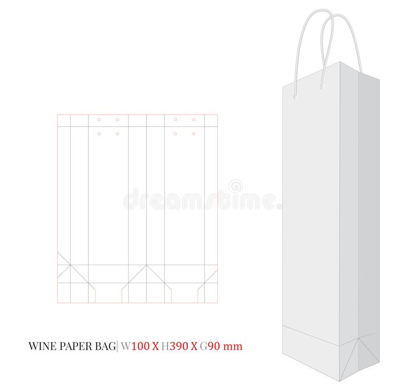 Wine Paper Bag with Handle, White Craft Wine Bag Illustration stock illustration