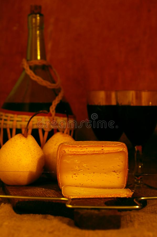 Wine, pear and Cheese stock photo