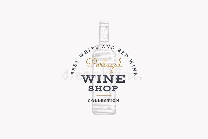 Wine of Portugal. Vector logo of wine store with picture of wine bottle on white background. vector illustration