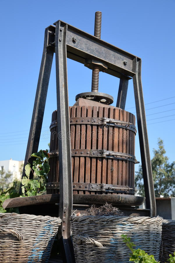 Wine press on Santorini. A wine press on the island of Santorini, Greece stock photo