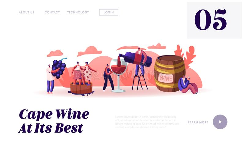 Wine Producing and Drinking Website Landing Page. Man with Bottle Pouring Alcohol Drink to Glass Characters Grow Grapes. Produce Natural Vine Production Web royalty free illustration