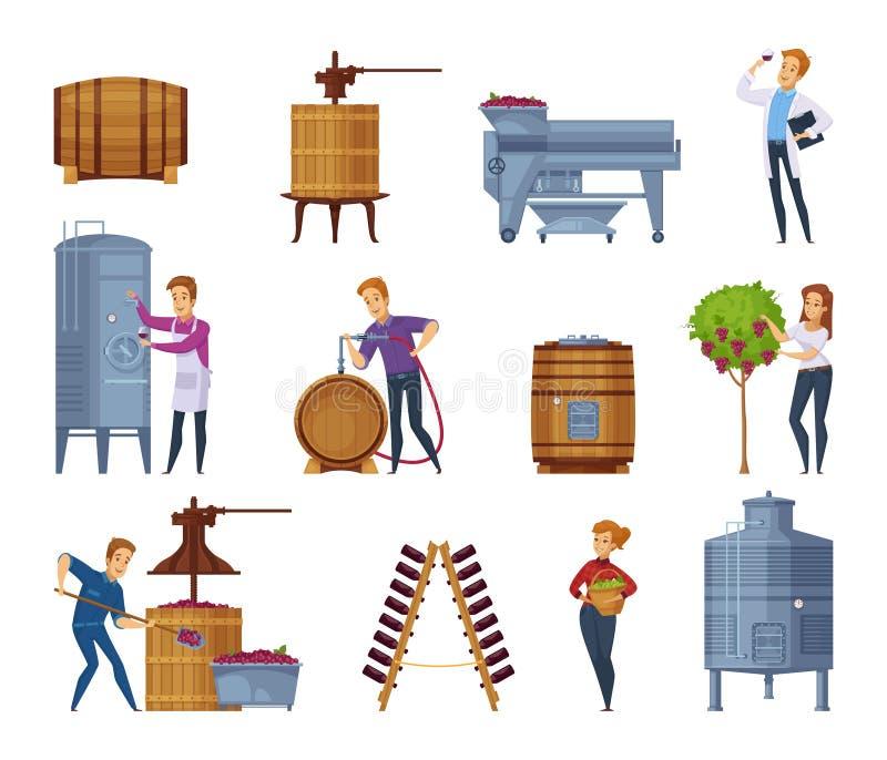 Wine Production Cartoon Icons Set vector illustration
