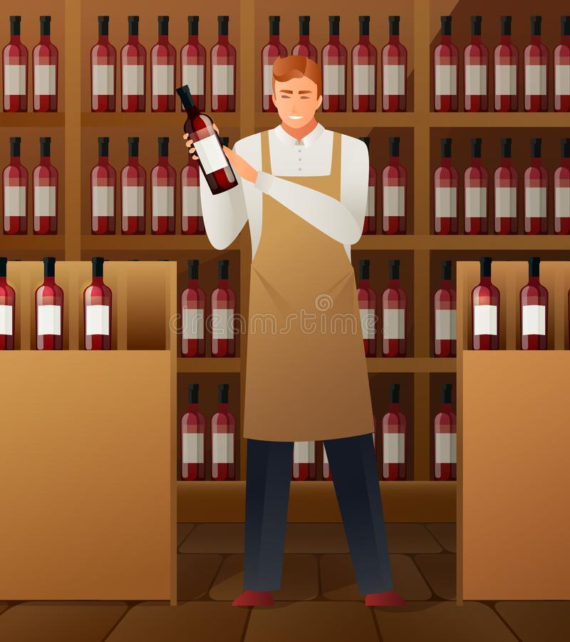 Wine Production Composition. With wine market symbols gradient flat vector illustration royalty free illustration