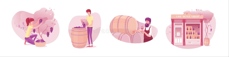 Wine production flat vector illustrations set isolated on white background royalty free illustration