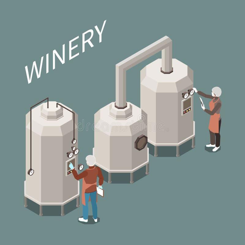 Wine Production Isometric Composition stock illustration