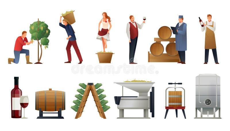 Wine Production Set royalty free illustration