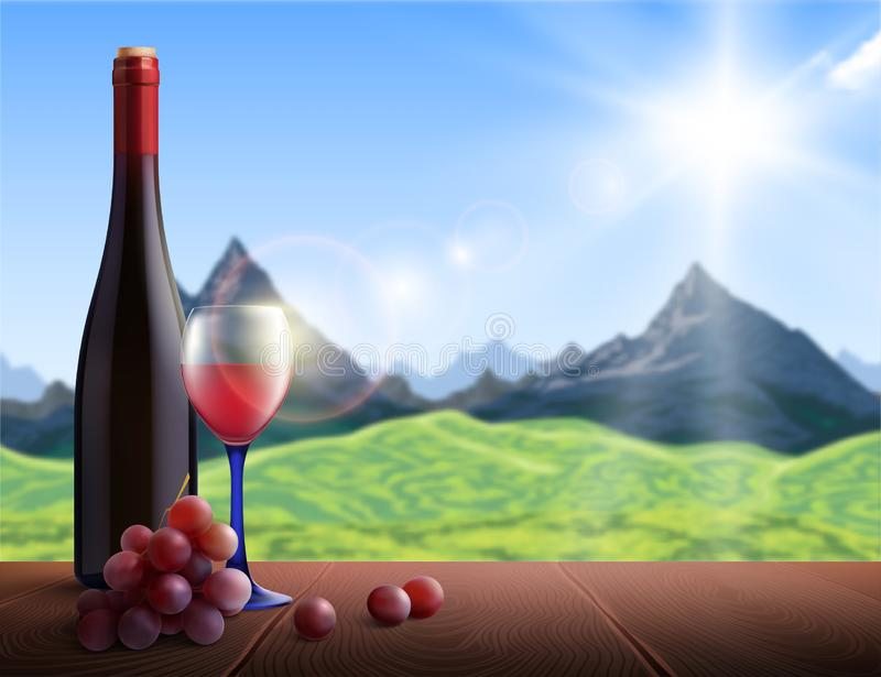Wine Realistic Background. With mountains view and wooden table vector illustration stock illustration